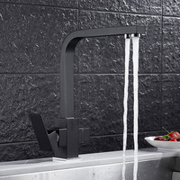 Total brass Black/Chrome kitchen faucet swivel kitchen mixer tap,360 degree direct drink kitchen tap 3 Way Water Filter Tap