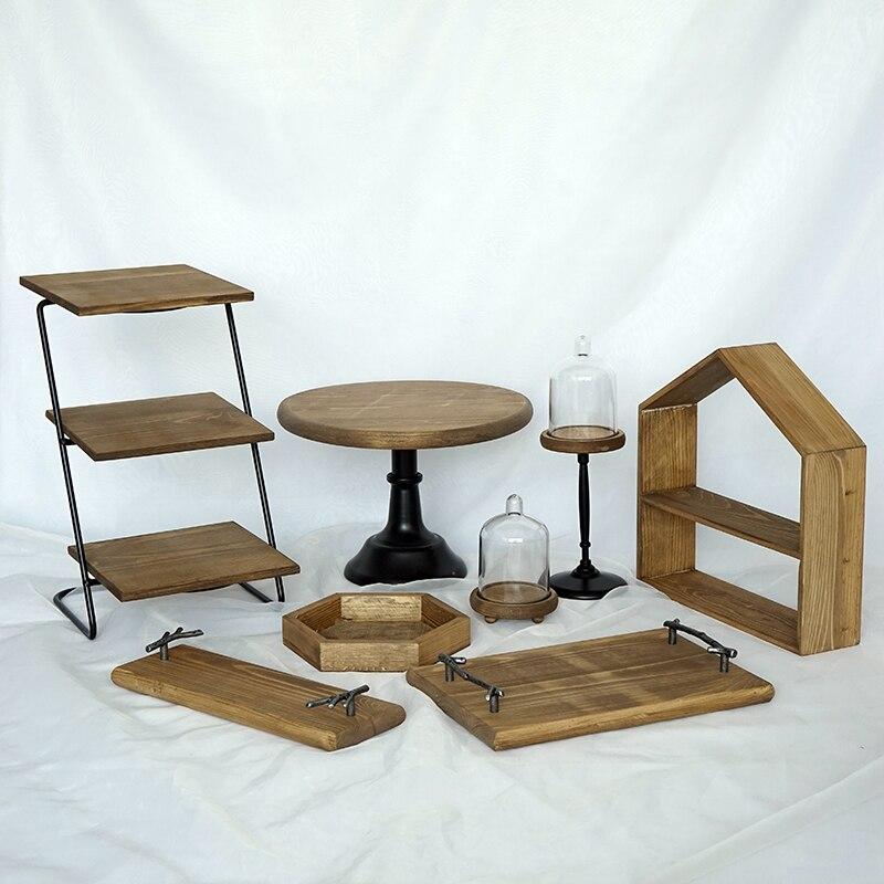 SWEETGO 8 pièces bois gâteau stand set forêt style gâteau outils fondant gâteau plateau décoration de la maison table de desserts partie fournisseur