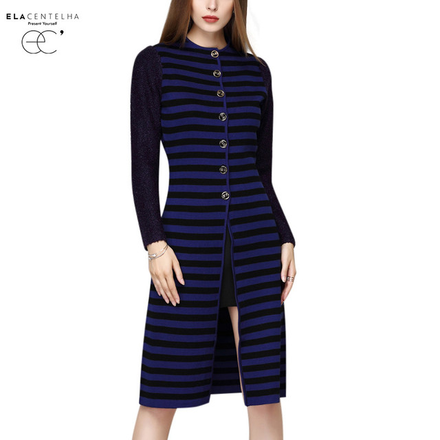 ElaCentelha Women Sweater 2016 New Long Sleeve Single Breasted Striped Cardigans Coats Autumn Female Slim Knitted Long Sweater