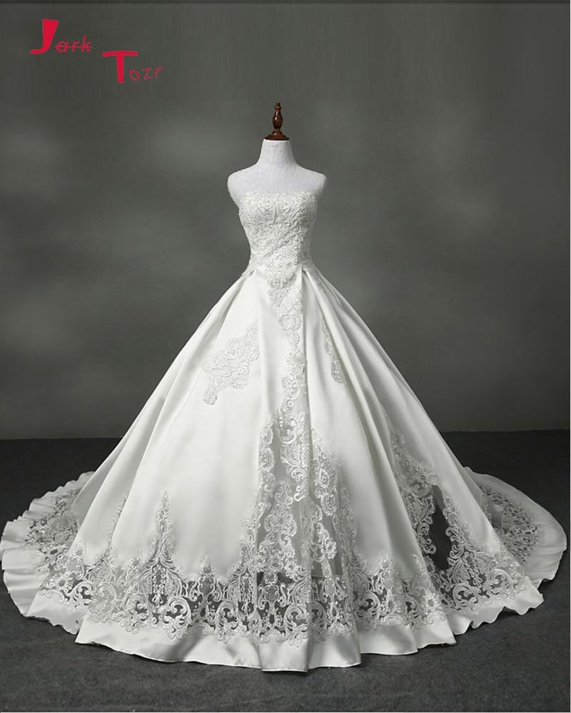 Jark Tozr 2017 New Special Ivory Satin font b Wedding b font Dresses Vestido De Noiva