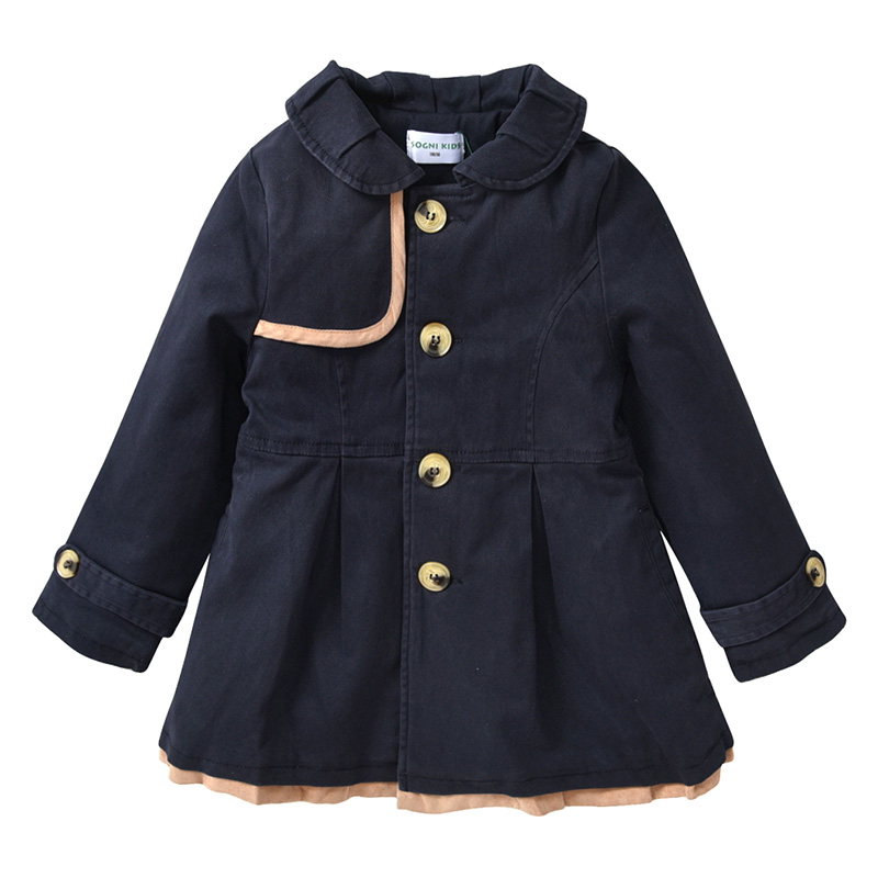 Toddler Girls Warm Padded   Trench   Coats Dark Blue Navy Cotton Long Jacket Kids Warm Single Breasted Coat Windbreaker for Girls