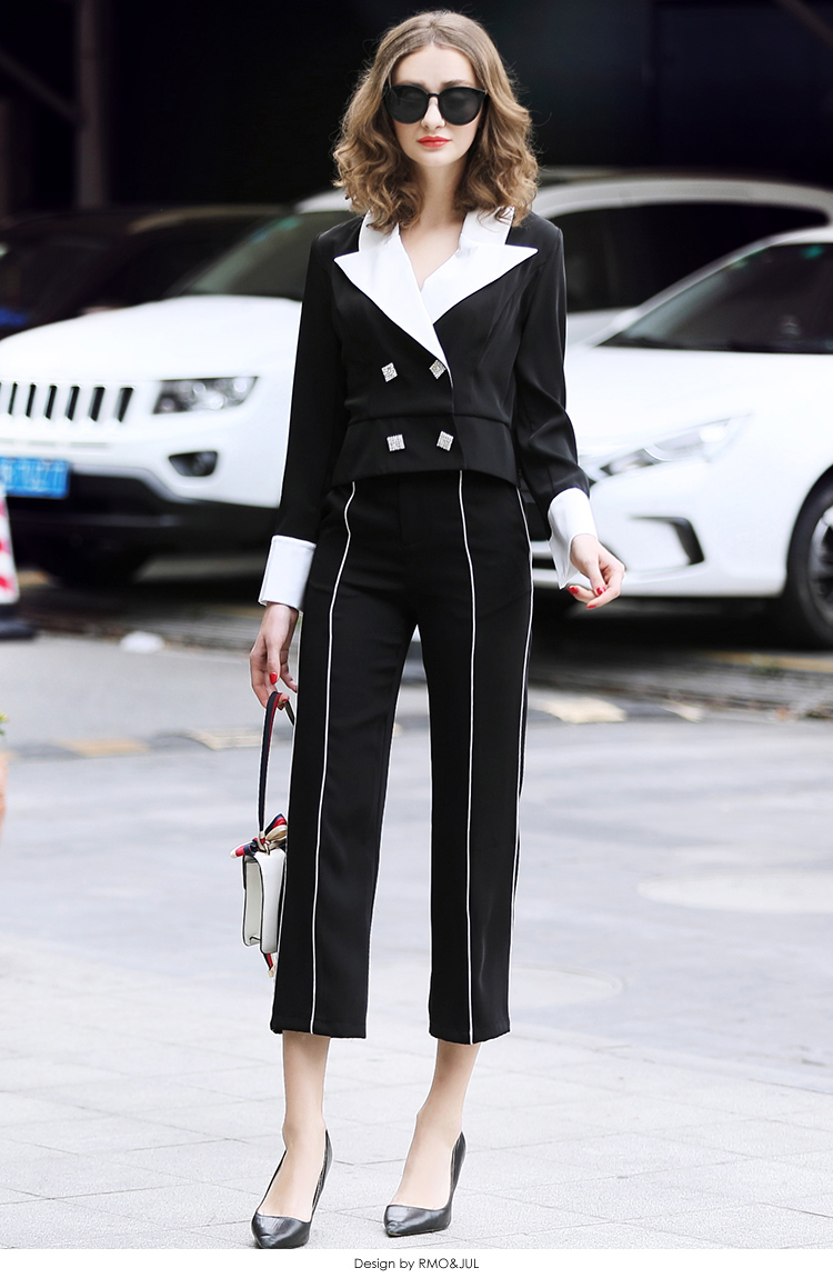 family RMOJUL temperament of the new spring dress 2019 OL bump color suit jacket + 9 minutes of pants fashion set 42