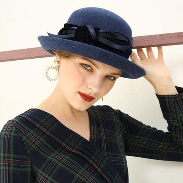 2603f9bbda27ce ... FGHGF Elegant 1920s Vintage Style Satin Bow knot Wool Cloche Hat Women  Wool Felt Bucket Bowler ...