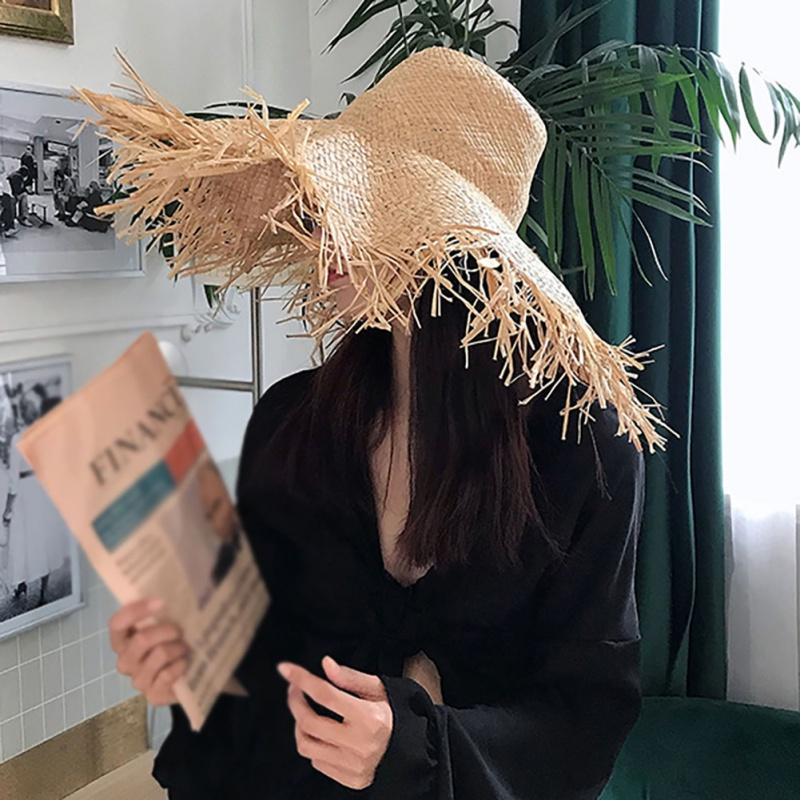 Solid Wide Breathable Brimmed Hat Women's Fashion Sun Hats Ladies Natural Straw Hat Sun Shine Beach Outdoor Sunscreen Cap(China)