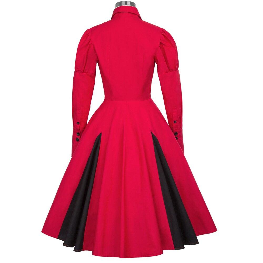 Vintage Belle In Frauen Kleid Sommer Hemdkragen 2018 Langarm Rot Retro Kleider Us40 Poque Swing Viktorianischen Gothic Schwarz 97belle Rockabilly 8nXOPk0w