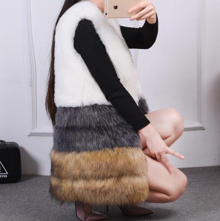 85a2061ba2b04 Manteau Fausse Fourrure Femme Long 2018 Warm Gilet Fur Vest Luxury Women  Faux Fox Fur Coat Hooded Sleeveless Waistcoat XL240