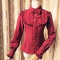 Chiffon & lace três quartos manga sweet lolita blusa branca camisa gótico vitoriano steampunk corset sensuais acessórios do traje