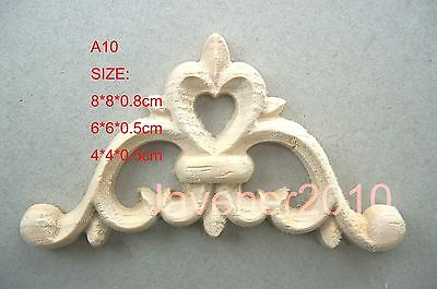 A10-8x8x0.8cm Wood Carved Corner Onlay Applique Unpainted Frame Door Decal Working Carpenter Flower