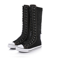 Fashion Women High Top Canvas Shoes Breathable Knee High Boots Lady Long Casual Sneaker Plus Size 35 43