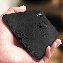 Luxury Retro Deer Cloth Texture Phone Case For Xiaomi Mi 8 Ultra thin Soft Silicone Canvas Cover Redmi Note 5 Pro Mi8