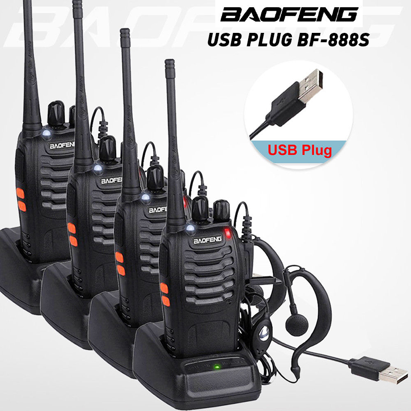BAOFENG BF-888S Walkie-Talkie Earpiece Transceiver UHF Two-Way-Radio Portable 16CH 400-470mhz