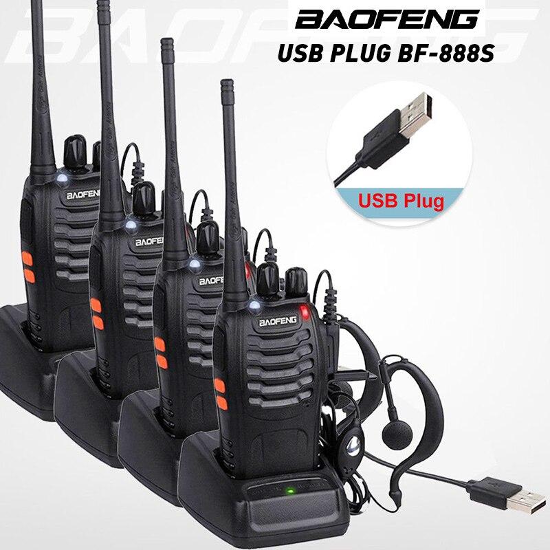 4 pçs/lote BF-888S BAOFENG Walkie Talkie Rádio em Dois Sentidos Baofeng 888 s 16CH UHF 400-470 MHz de Longo Alcance transceptor portátil + Fone de Ouvido