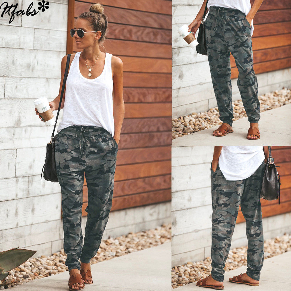 2020 New Arrival Women Cargo Pants Stretch Waist Military Army Camouflage Camo Cargo Trousers Female Casual Pockets Pencil Pants