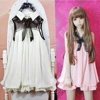 Kobiety lato słodka sukienka lalki ruffles szyfonowa sukienka bez rękawów stałe Japoński słodkie lolita biały, różowy jeden kawałek sukienka Kawaii OP