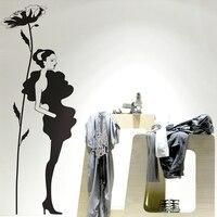 Одежда магазин винил стена наклейки сексуальный девочка цветок женщины в одежда росписи искусство магазин стена наклейка окно стекло накл...