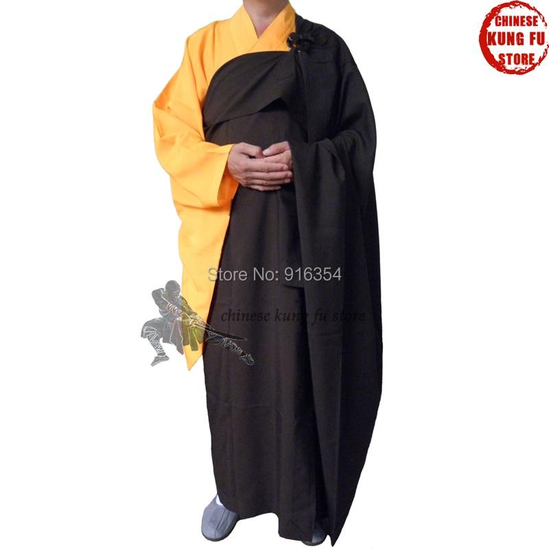 Unisex Buddhist robe Zen Meditation Manyi Kesa robes Shaolin Temple Monk Dress Kung fu Uniform Suits orange cotton shaolin kung fu suit buddhist monk robe martial arts tai chi wing chun karate taekwondo uniforms