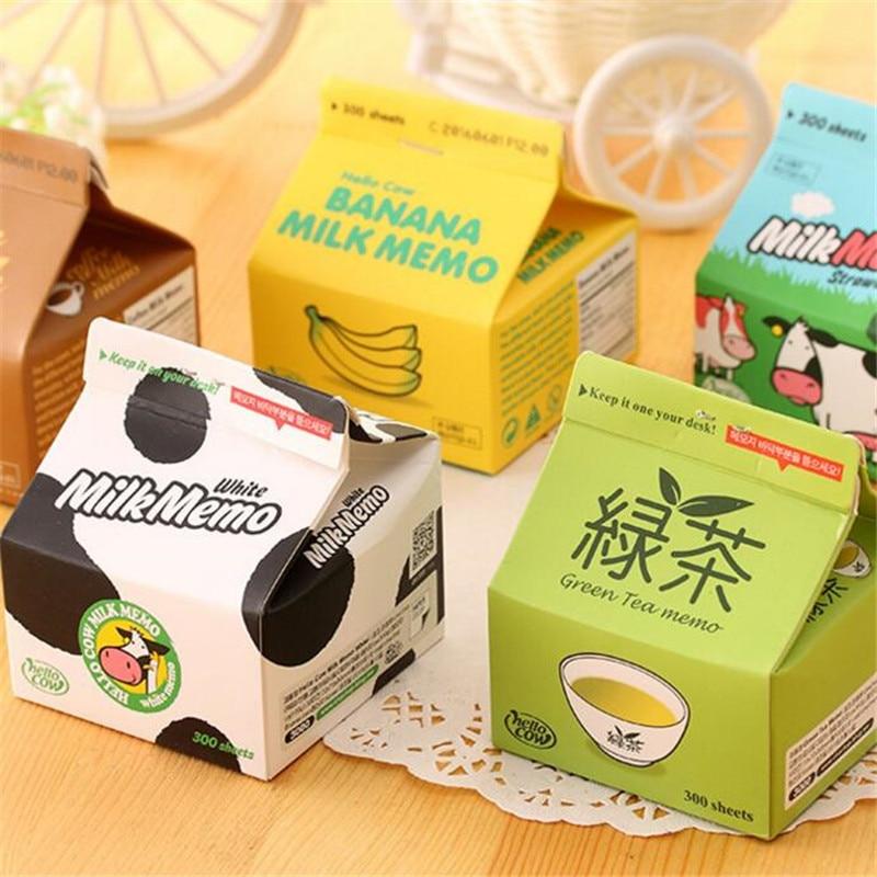Creative Milk&Coffee Box Design Memo Pad Daily Notepads Escolar Papelaria School Supply Bookmark Post It Label Stationery 8cm