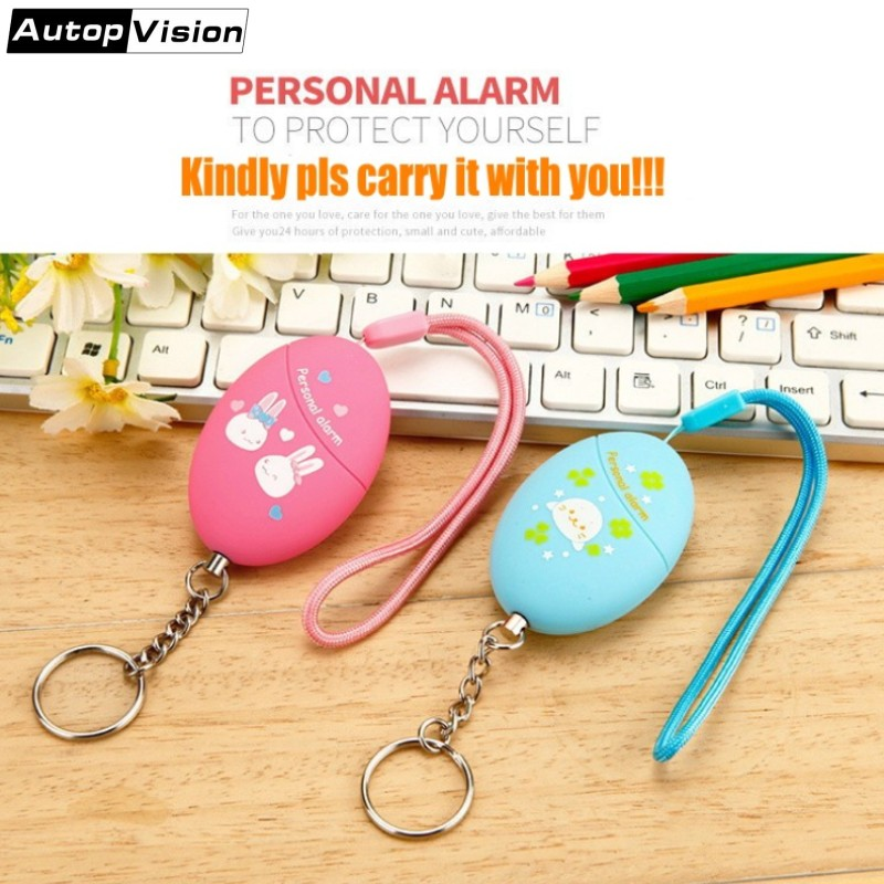 2018 New Model Cartoon Printed Personal Key Chain Alarm 120DB Self Defense Anti-Attack Safety Alarm Keychain For Girls Students