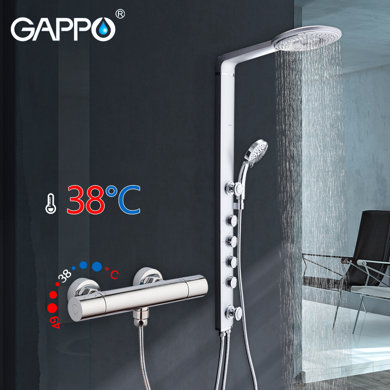 GAPPO shower faucet thermostatic showers round mixer tap wall mount ABS Panel Massage bathtub shower смеситель gappo g3260