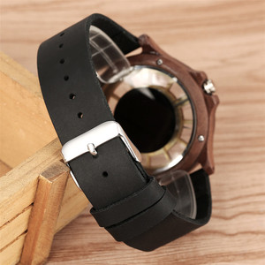 Image 5 - Transparent Hollow Dial Coffee/Brown/Black Wood Watches Quartz Timepiece Genuine Leather Watchband Creative Mens Watch New 2019