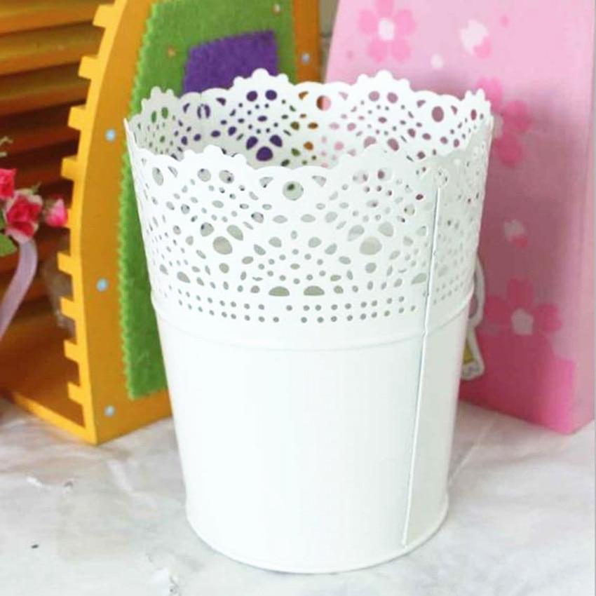 Free Shipping Rustic Vase White Embossed Bucket Tin Vase Decorative