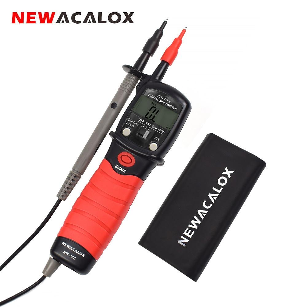 NEWACALOX Pen Tipo Multímetro Digital AC/DC Voltage Meter Handheld Backlight Diodo Resistência Capacitância Tester Ferramenta de Medição