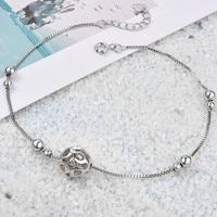Новый 925 Серебряный браслет женщина Лаки шарик 100% 925 стерлингового серебра щиколотке Лето Модные украшения