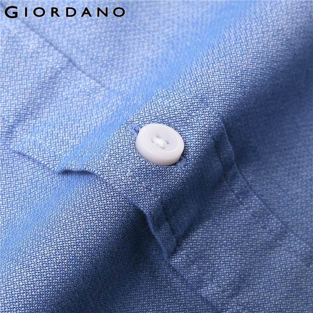 Giordano Men Slim Shirt Long Sleeve Shirts For Men 100% Cotton Interlock Shirt Men Casual Camisa Masculina Chemise Homme 5