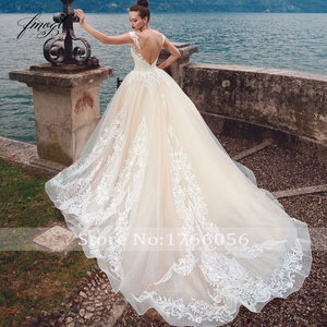 Image 3 - Fmogl Sexy Backless Cap Sleeve Princess Wedding Dresses 2020 Luxury Appliques Lace Court Train Vintage A Line Bridal Gowns