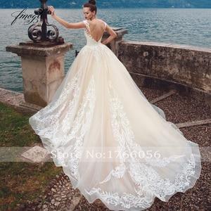 Image 3 - Fmogl Sexy Backless krótki kimonowy rękaw ślub księżniczki suknie 2020 luksusowe aplikacje koronki sąd pociąg Vintage linia suknie ślubne