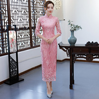 Pink Retro Embroidery Cheongsam Vintage Chinese Style Womens Long Qipao Sexy Slim Party Evening Dress Summer Vestido Size S XXXL