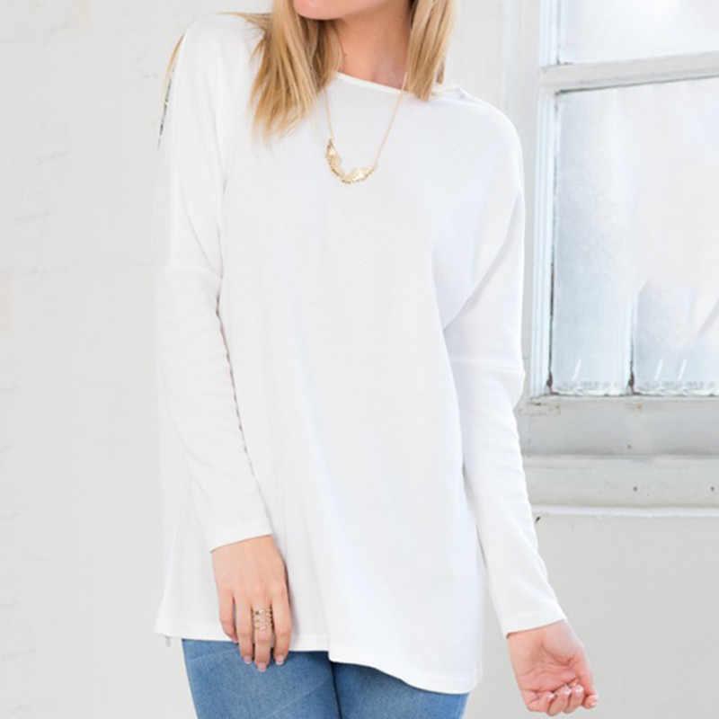 Mode femme T-shirts dames ailes volantes dos nu T-shirt femme à manches longues haut & T-shirts Blusas Femininas femmes T-shirt