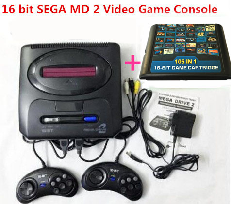 For 16 bit For SEGA MD2 Video Game Console with US and Japan Mode Switch,Free 105 in 1 game cartridge for everdrive sega game cartridge fire shark for 16 bit sega megadrive genesis game console