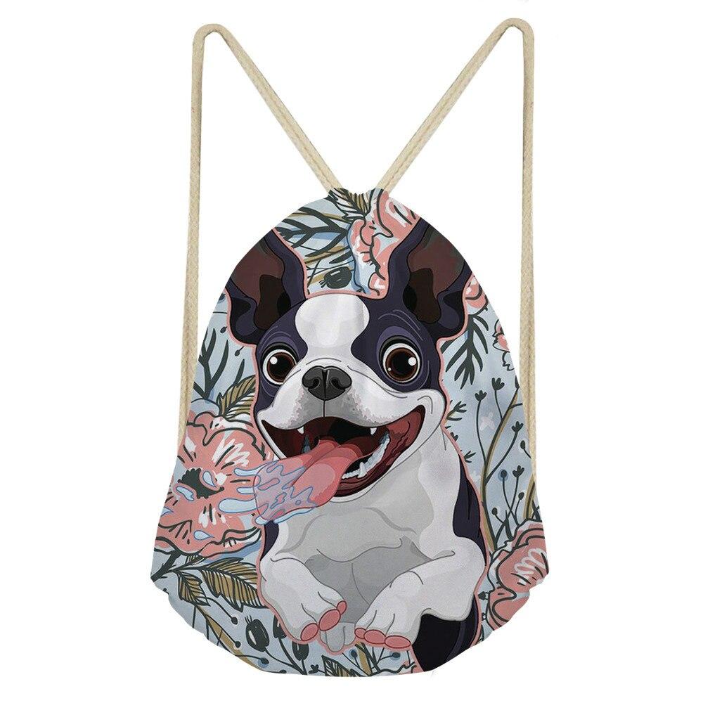 ThiKin Women Men Drawstring Bags Backpack Boston Terrier Backpacks For Teenagers School Shoulder Bag Travel Storage