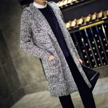Tide brand Autumn Men Thermal long Sweaters Korean style Thick Knitted Cardigans Fashion Mens Oversized Hooded Coat 82206
