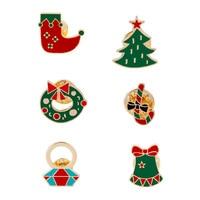 6 Pcs A Set New Fashion Christmas Brooch Oil Studded Christmas Tree Boots Christmas Gift For