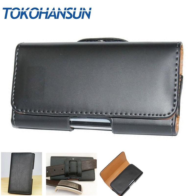 TOKOHANSUN For Huawei ShotX Dual SIM Phone Bag Mobile Cover Belt Clip Case Black Color PU Leather Pouch