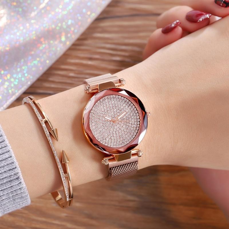 JBAILI Women Watch Magnet Mesh Belt Watches Top Brand Luxury Full Diamond Crystal Glass  Ladies Wrist Lady Clock