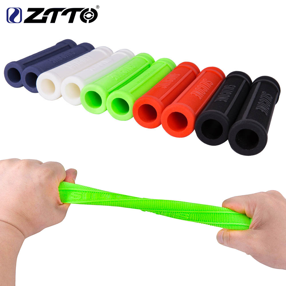 ZTTO 1 Pair Pure Silicone Gel Durable Shock-Proof Anti-Slip Bicycle Grips with Bar Plug For MTB Mountain Bike Road Bicycle Parts