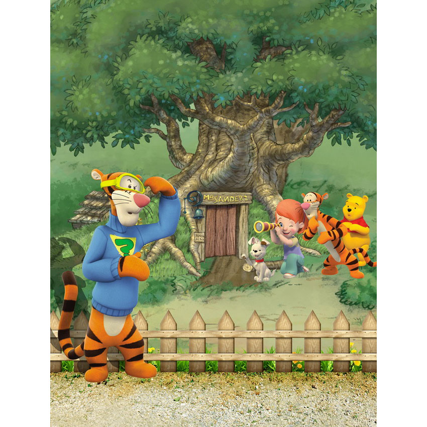 Winnie The Pooh Forest Background: TR 8x8FT Winnie Pooh Bear Green Forest Wood Fence Tree