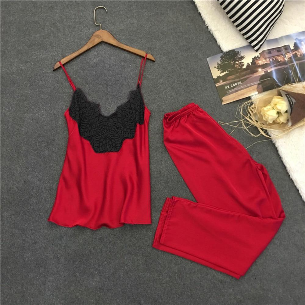 2Pcs Ladies Women Sexy Nightwear Satin Silk Sleepwear Babydoll Lingerie Nightdress Charming Gifts