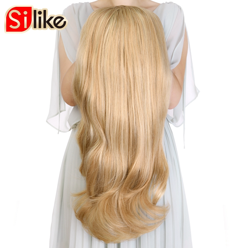 Silike Synthetic 3/4 Half Wig Ombre Color Long Blonde Hair High Temperature Glueless Cosplay Wigs For Black/White Women