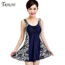 TRIKINI 2017 Bathing suit  Summer Women Dress Cover ups Beachwear Swimsuit  Skirt Bathing suit One Piece XL-7XL