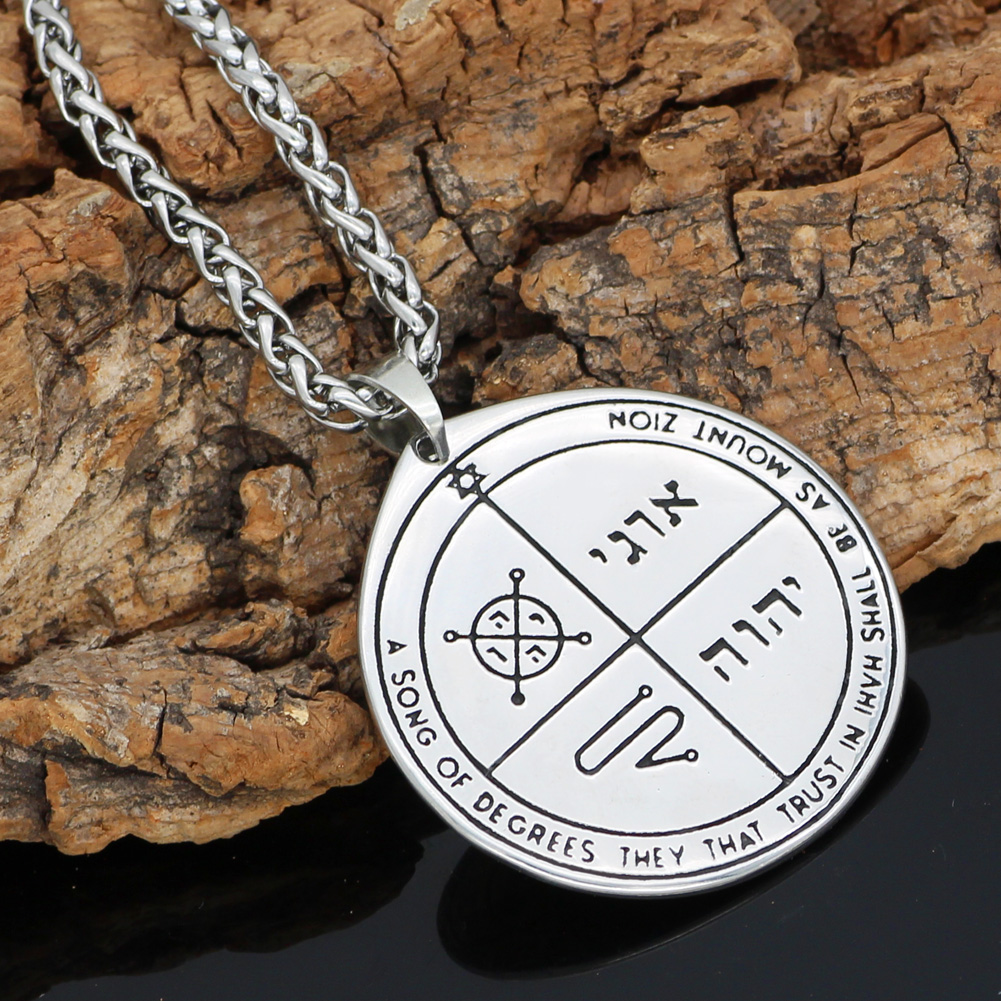 Talisman Pentacle of Solomon Seal Wiccan Pagan Hermetic Enochian Kabbalah Pendant necklace  Stainless steel-in Pendant Necklaces from Jewelry & Accessories    1