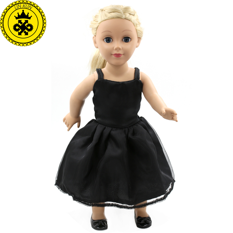 Brithday Gift Handmade American Girl Doll Clothes Baby Clothing Girl Black Dress Fit 18 Inch American Girl Dolls MG-005 handmad 18 inch american girl doll clothes princess anna dress fits 18 american girl doll mg 032
