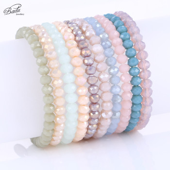Badu Faceted Crystal Beaded Bracelets for Women 5 mm Bead 11 Colors All Match Girls Bracelet Trendy Jewelry Gift for Best Friend