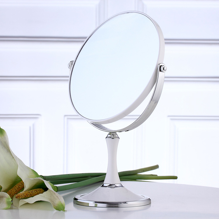 Ls ordinary silver double sided make up cosmetic oval for Silver stand up mirror