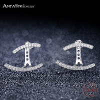 ANFASNI Luxury Ear Cuff Earring With Clear Cubic Zirconia Shiny Stone Women Gifts Jewelry Double Line