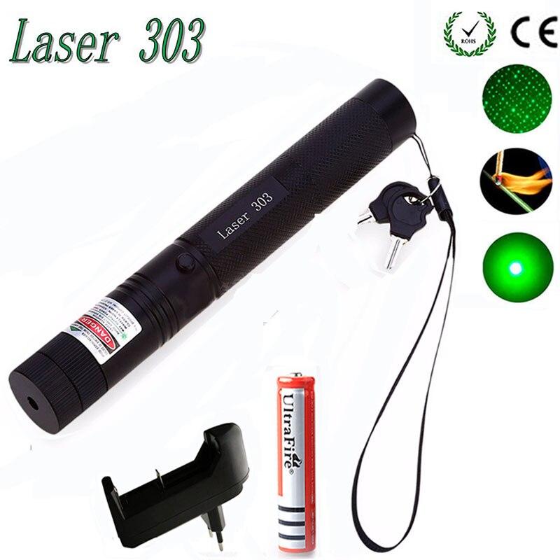 Láser verde Vista de alta potencia caza Punto verde táctico 532 nm 5 MW 303 puntero láser verde lazer la cabeza de la pluma la quema de encuentro