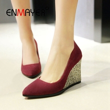 ENMAYER  Basic Super High Wedges Shoes for Woman Pointed Toe Casual Slip-On Zapatos Mujer Tacon Solid Size 34-43 LY1827